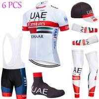 6PCS مجموعة كاملة TEAM 2020 الإمارات العربية المتحدة الدراجات جيرسي 20D شورت ركوب الدراجات مجموعة ملابس Ciclismo الصيف الجافة سريعة الموالية ارتداء مايوه دراجة هوائية قيعان
