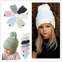 8468e648fa5 Kids CC Winter Pom Beanie Trendy Knitted Hats CC Boys Girls Chunky Skull Caps  Warm Cable Crochet Hat Children Knit Hooded Cap Outdoor Hats