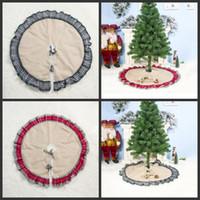 Albero di Natale Gonne Griglia di Lino decorazione creativa di griglia Albero Gonna Carpet Ornamento di natale Festival decorazione del partito