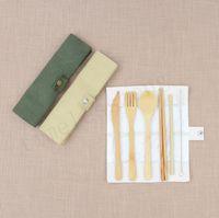 7PCS / SET Портативный Cutlery Set Открытый Путешествие Bamboo Flatware Набор ножей Палочки Вилка Ложка столовая посуда Наборы для ученической посуды