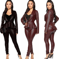 Queda Mulheres Winter Set Long Sleeve PU Ruffles jaqueta de couro + BODYCON Pants 2 Parte Define Night Club Streetwear Sexy Fatos