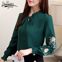 plus size women tops floral embroidery chiffon blouse shirt ...