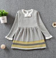 Дизайнерские дети девочка одежды девочка семь Harper ребенок младенца ТРИКОТАЖНОЙ принцесса свитера платья осень зима Toddle дети бутики одежда