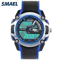 Niños reloj digital 50m LED resistente al agua cuarzo del tiempo dual Wirstwatch digital Wach 1343 Choque niños de los relojes del reloj del deporte del muchacho del reloj