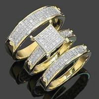 """""""عيد الفصح"""" هدية مل 3pcs الموضة العصرية مجوهرات للنساء 18k الذهب مطلي النحاس الزركون الأزواج خاتم الزفاف حجم 5-11 # 110"""