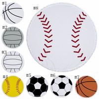 Béisbol Toalla de poliéster Tapiz de la borla de las mujeres del mantón de Yoga Mat picnic Alfombras Béisbol Baloncesto Softbol de Pringting 8 diseños DSL-YW2503
