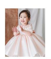 Розовый тюль ребёнок платье девушка пагентные платья платья кружева свадебная принцесса вечеринка платья половина рукава цветок девушка первое причастие выпускное платье