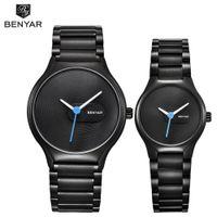 Benyar love 'assistir marca marca luxo relógios de quartzo moda casual impermeável 30m vestido relógio natal presentes dos namorados