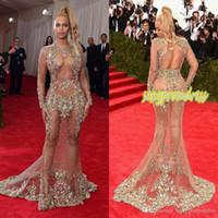 2019 Abito da sera di cristallo Prom Abito da sera Beyonce Met Ball Rosso Carpet Abiti Nudo Nudo Abito da celebrità nudo Vedi attraverso l'abbigliamento formale Sweep Train senza backless