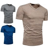 Designer T Shirts Fashion Short Sleeved Tees Striped Panelled V Neck Tops Summer Male Clothing Mens