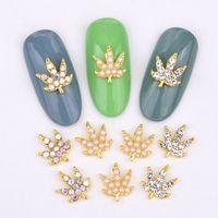 10 pezzi Nuovo nail art decorativo vetro pietra preziosa rhinestone foglie serie lega retrò effetto fai da te fascino fascino accessori per unghie LH333-342