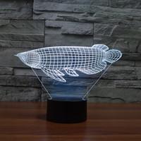 3D 동물 잉어 물고기 모양 램프 LED 에너지 절약 7 색 점진적 변경 작은 나이트 라이트 3D 참신 침대 옆 크리스마스 램프 선물