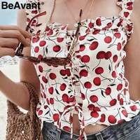 BeAvant Chic spaghetti straps women short top Cute cherry pr...