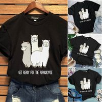 Cute Alpaca Printed Llama Cotton T Shirt Women Summer Short ...