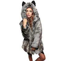 Winter Solid Thick Faux Fur Women Warm Hooded Coats Rabbit E...