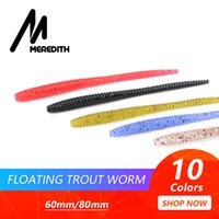 MEREDITH Slow SinkingTrout Worm Soft Baits 60mm Artificial F...