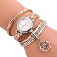 Fashion Women Leather Band Bracelet Watch Stainless Steel An...