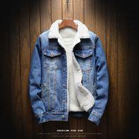 Erkek Hiphop 2019 Sıcak Polar Kalın Denim Ceketler Erkek Bahar Kış Jean Kürk Ceket Dış Giyim Kovboy Erkek Sıcak Ceketler Ceket Motosiklet sokak