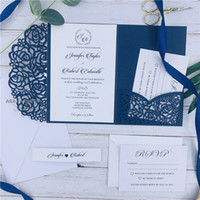 Navy Blue Laser Cut Pocket Wedding Invitation Suites, Custom...
