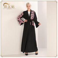 WEPBEL Women Dress Floral Flower Printing Black Middle East Dubai Open Dress Cardigan Muslim Abaya Ramadan Islamic