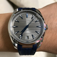 41 мм резиновый ремешок автоматический Aqua Terra 150M синий / белый / черный циферблат корпус автоматического механического сапфирового зеркала мужские часы бесплатный корабль