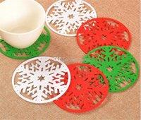 Jardin de fête Joyeux Noël Snowflakes Coupe du tapis de dîner Plat Plateau coaster Pad