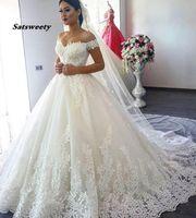 OFF Плечо Принцесса Свадебные платья Бальное платье 2021 Кружева Аппликация Бусины с Рукавами Свадебное платье Невесте Платье Vestido de Noiva