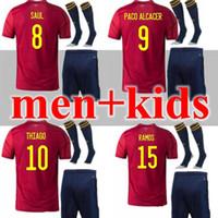 2020 2021 Espanha Jersey Adulto e Crianças 20 21 Camiseta de Fútbol Sergio A.iniesta Koke Asensio Ramos Silva ISCO Cup Football
