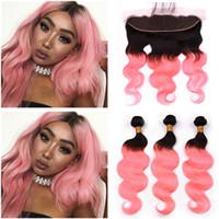 # 1B / Pink Ombre Körperwelle Brasilianisches Menschenhaar 3 Bundles und Frontal Ombre Rose Gold Menschenhaar Lace Frontal Closure 13x4 with Weaves