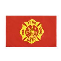 Freies Verschiffen auf Lager 3x5ft 90x150cm amerikanische US-Feuerwehrmann Feuerwehrmann Abteilung Service-Sektor-Flagge Banner für Außendekoration