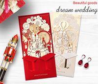 بطاقات دعوات الزفاف شخصية العروس قص الليزر دعوات الزفاف بطاقات تصميم جديد للطباعة مع مغلف وختم
