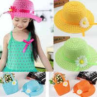 New Sweet Baby Girl Kids Straw Flower Sun Hat Cap Child Summ...
