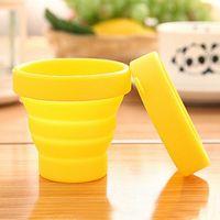 Cupes dobráveis 170ml Grau de alimentos xícaras de água Gargarle Silicone Retrátil Retrátil Colorido Aplicativo de Café Ao Ar Livre Vtky2374
