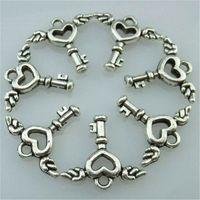 14203 50 قطع سبائك العتيقة الفضة خمر لطيف البسيطة القلب الجناح مفتاح قلادة سحر مجوهرات الأزياء والمجوهرات التبعي diy جزء