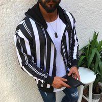 Casual Mens Designer Hoodies Art und Weise Striped Dickes Fleece Langarm-Kapuzenpulli 19AW Herren-Jacken