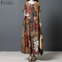 ZANZEA Donna Vintage Summer O Neck Manica corta floreale stampata Bohemian Maxi Long Dress Vestido Casual Cotton Beach Dress in lino