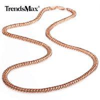 Kadın Kız Moda Trendy Mücevher Hediyeler Parti Altın 22/26 inç GN162 için 585 Rose Gold Kolye frenlemek Küba Bağlantı Zinciri Kolye