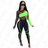 Женщины Сексуальная See-thought спортивный костюм лето марлевая сетка лоскутное спортивный костюм топы брюки 2 шт. наборы велосипед велоспорт спортивная одежда наряды D4205