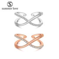 2019 CZ Unendlichkeitssymbol Manschette Ring Micro Inlayed Kubikzircon Ring für Frauen Gold Silber Engagement Hochzeit Fingerring Schmuck Geschenk