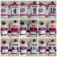 Moda Retro Montreal Canadiens Jersey 4 Jean Beliveau 9 Maurice Richard 10 Guy Lafleur 29 Ken Dryden Mens Vintage cucito pullover del hokey