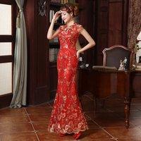 Neue Spitze besticktes chinesisches traditionelles Kleid Frauen Pailletten lange Fischwail Cheongsam Vintage orientalische lange qipao Abendkleider
