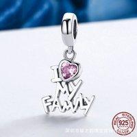 A forma di cuore in argento sterling 925 amo il mio ciondolo della famiglia Charms si adatta ai braccialetti originali collane gioielli fai da te Bel regalo