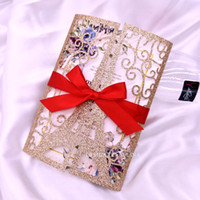 Розовые золотые лазерные нарезанные ворота складки свадебные приглашения Эйфелева башня Sparkle пригласительный билет для свадебного бранда с красной лентой DIY айва приглашает