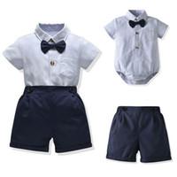 Ins летние детские мальчиков костюмы новорожденных наряды короткие комбинезоны рукав + шорты 2pcs / комплект младенца мальчика одежды младенца младенца мальчика дизайнер одежды B630