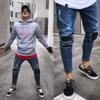 2018 Hot Fashion Men Ripped Skinny Biker Jeans Destroyed Fra...