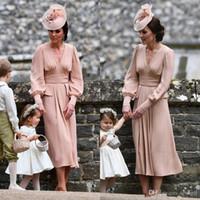 بسيطة الأم الشيفون من طول العروس فستان طويل الأكمام الشاي خمر فستان الزفاف الزوار البلد V الرقبة المتربة الوردي أثواب السهرة الرسمية
