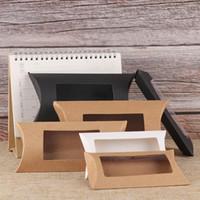10шт Mutlisize подушка подарочная коробка DIY пустая бумага подарочная коробка коричневый / белый/черный с прозрачным окном ПВХ крафт-бумага окно для