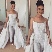 Abiti da sposa della tuta di pizzo Gorgerous con gonna oversize senza spalline Abiti da sposa Appliqued Plus Size Dubai Arab Wedding Dress Custom