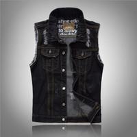Adam Siyah Yelek Boyut M-XXXL için Moda Erkek Yırtık Kot Yelek Slim Fit Sıkıntılı Kolsuz Kot Ceket