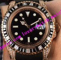 2 Style Men Watch 40mm 116695SATS Rose Gold Frame Rainbow Diamond Bezel Black Rubber Strap Automatic Luxury Watch Free Factory Sales